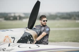 Andrew Musgrovewith Red Bull airplane Budapest